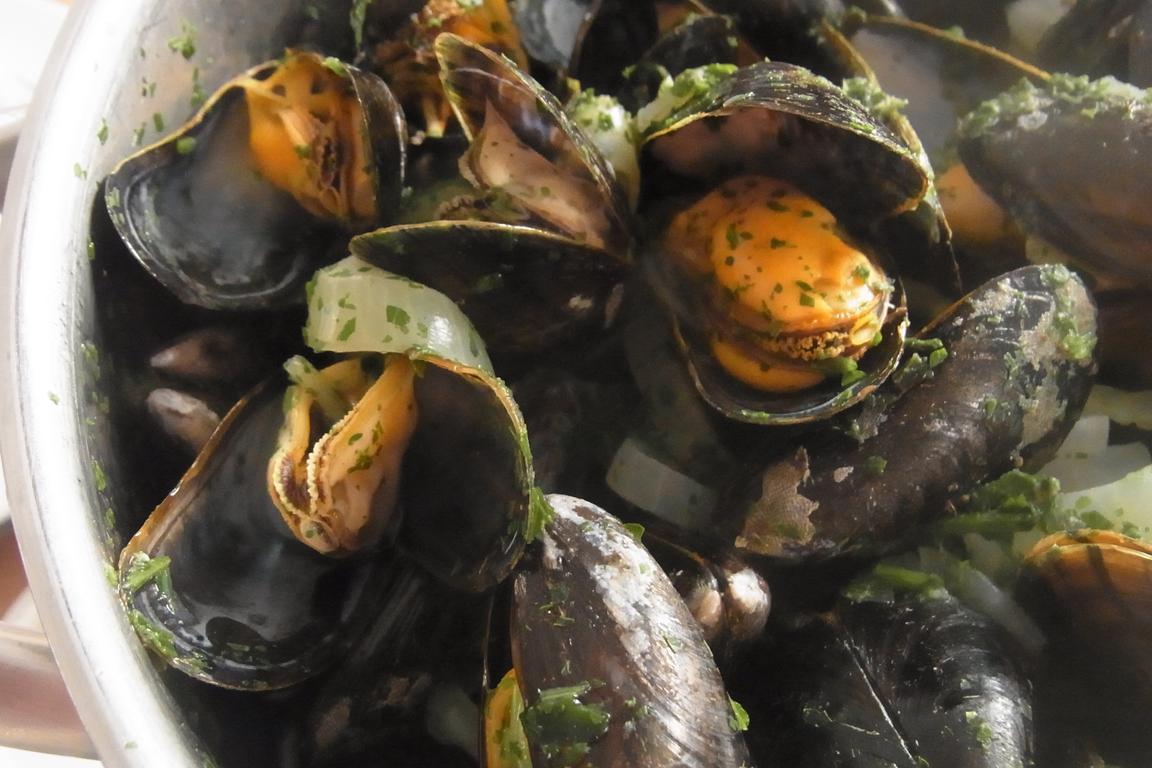 Zeeländische Muscheln in Cadzand-Restaurant